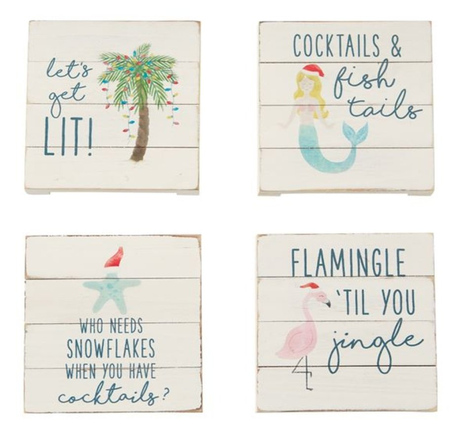 PLANKED SEA CHRISTMAS COASTERS - Molly's! A Chic and Unique Boutique
