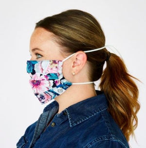 Pleated Mask With Adjustable Elastic in Floating Garden - Molly's! A Chic and Unique Boutique