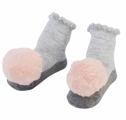 Pom Pom Rattle Toe Socks Grey - Molly's! A Chic and Unique Boutique