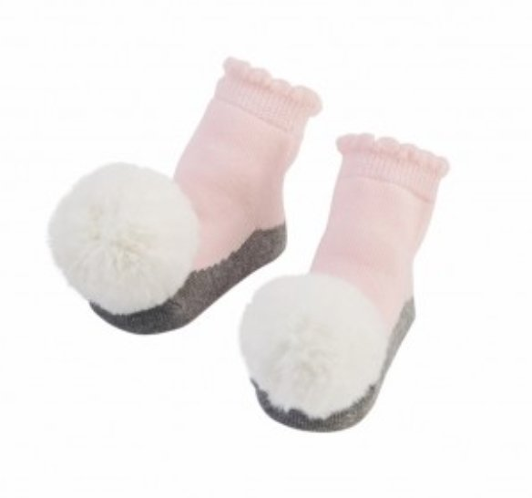 Pom Pom Rattle Toe Socks Pink - Molly's! A Chic and Unique Boutique