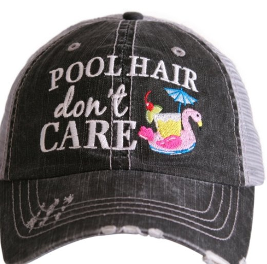"POOL HAIR DON""T CARE TRUCKER HAT -KDC-TC-159 - Molly's! A Chic and Unique Boutique"