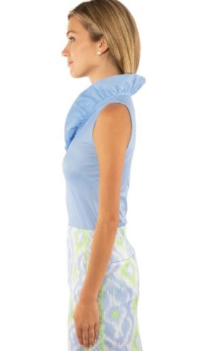 RUFFLE NECK TOP - SLEEVELESS (PERIWINKLE)- TPRNNS - Molly's! A Chic and Unique Boutique