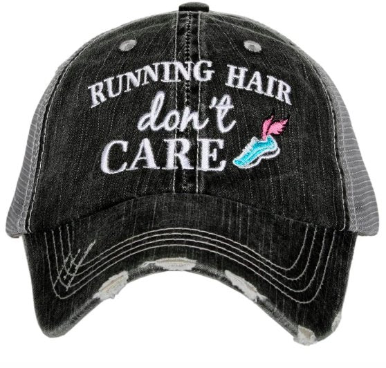 RUNNING HAIR DON'T CARE TRUCKER HAT KDC-TC-464GRY - Molly's! A Chic and Unique Boutique