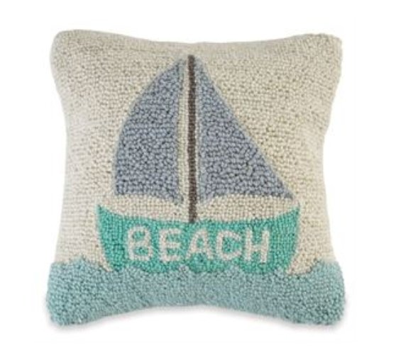 Sailboat Beach Hooked Pillow - Molly's! A Chic and Unique Boutique
