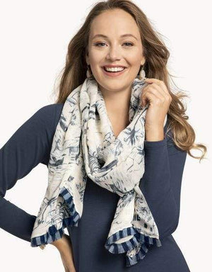 SEASCAPE DAISE - FRINGE SCARF- 292862 - Molly's! A Chic and Unique Boutique