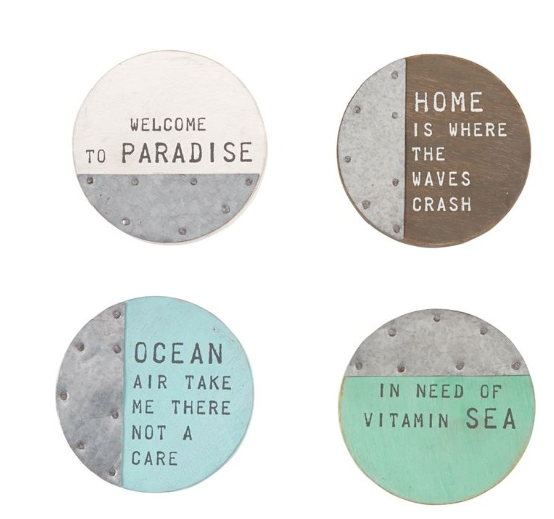 Set of Wood and Tin Beach Coasters - Molly's! A Chic and Unique Boutique