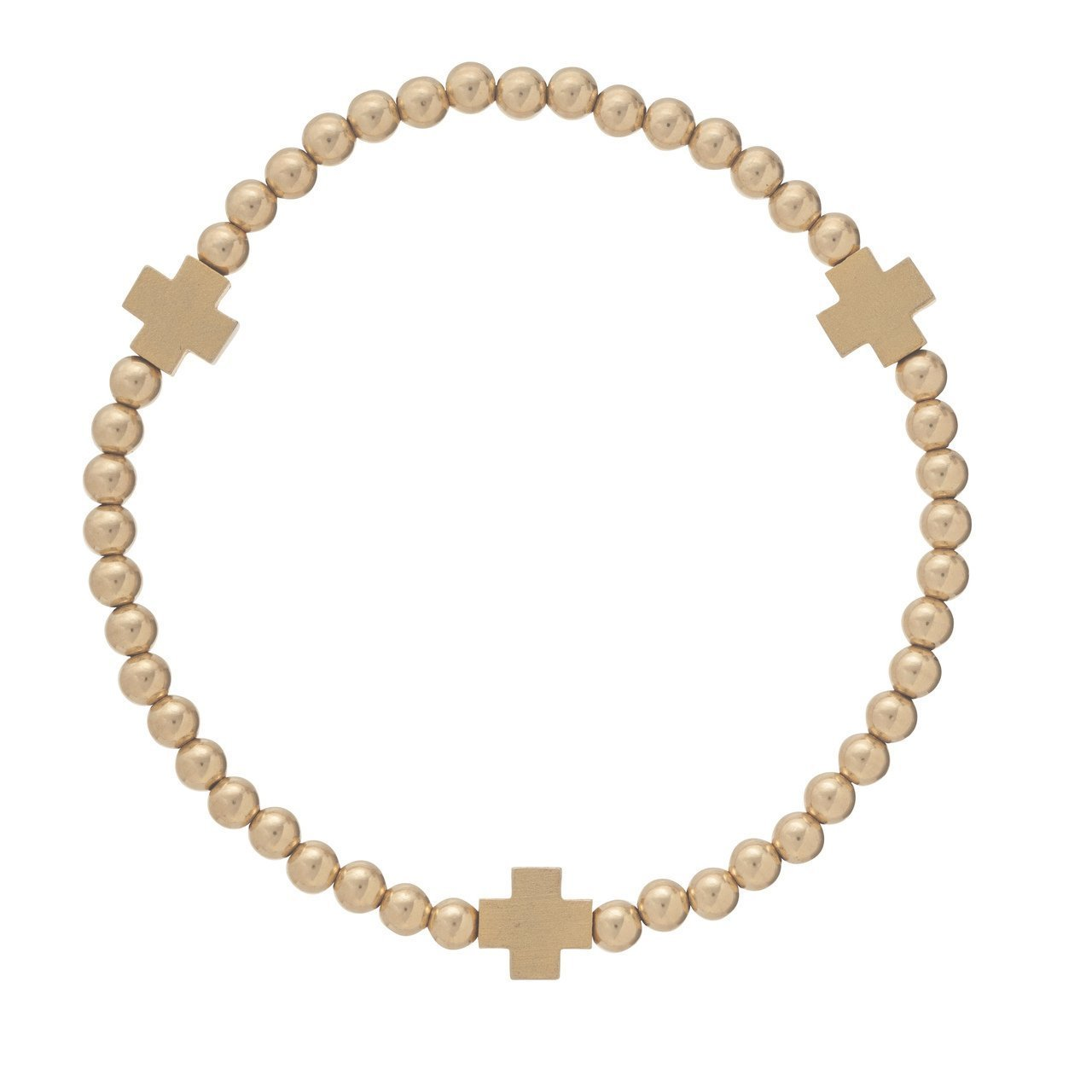 SIGNATURE CROSS MATTE GOLD PATTERN 4MM BEAD BRACELET - Molly's! A Chic and Unique Boutique