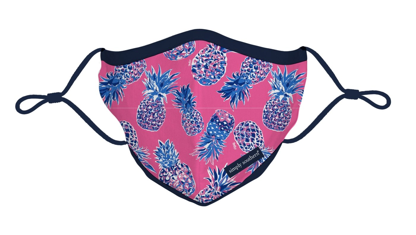 SIMPLY SOUTHERN FACE MASK-ADULT-PINEAPPLE DESIGN - Molly's! A Chic and Unique Boutique