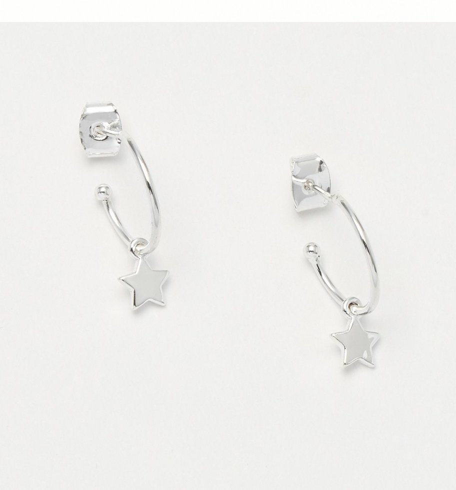 STAR DROP HOOP EARRINGS - SILVER PLATED EB1963 - Molly's! A Chic and Unique Boutique
