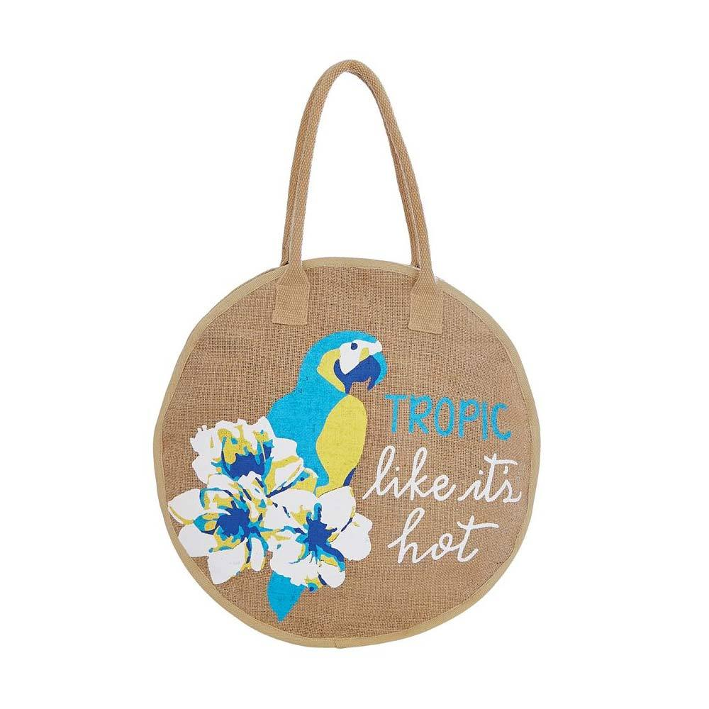 "Tote Bag – ""Tropic Like It's Hot"" Jute - Molly's! A Chic and Unique Boutique"