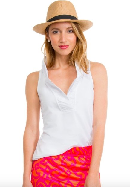 RUFFLENECK SLEEVELESS TOP- T (WHITE)-PRNNS - Molly's! A Chic and Unique Boutique