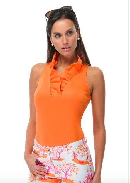 RUFFLENECK TOP SLEEVELESS - TPRNNS (ORANGE) - Molly's! A Chic and Unique Boutique