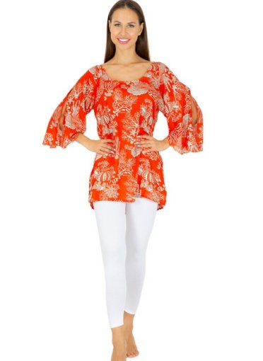 TUNIC  RED SEA PATTERN-  VM2095-RED - Molly's! A Chic and Unique Boutique