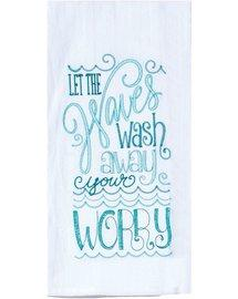 WAVES AND WORRIES EMBROIDERED FLOUR SACK TOWEL - Molly's! A Chic and Unique Boutique
