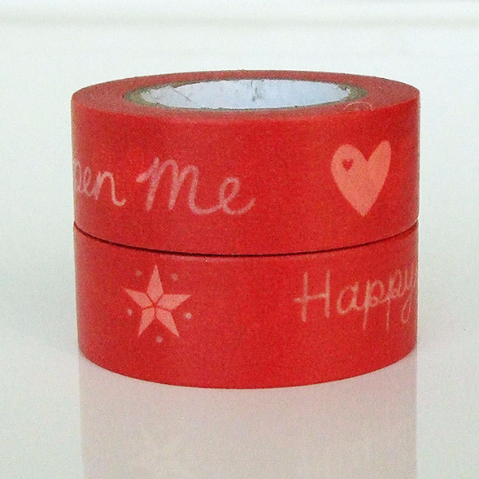 Red Happy Christmas Washi Tape 15mm x 8 metres WT562 - CharmTape - 2