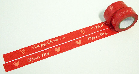 Red Happy Christmas Washi Tape 15mm x 8 metres WT562 - CharmTape - 1