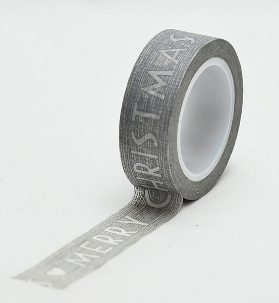 Grey Merry Christmas Washi Tape 15mm x 10m WT235 - CharmTape - 2