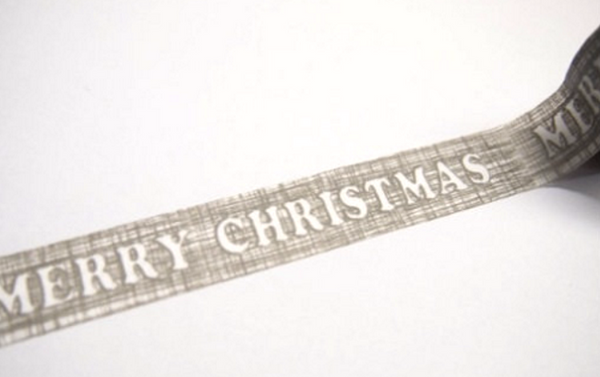 Grey Merry Christmas Washi Tape 15mm x 10m WT235 - CharmTape - 1