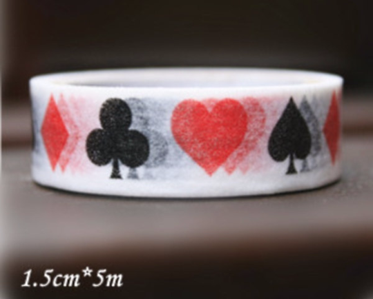 Washi Tape - Alice in wonderland spade & heart 2 rolls 15mm WT660 - CharmTape - 1