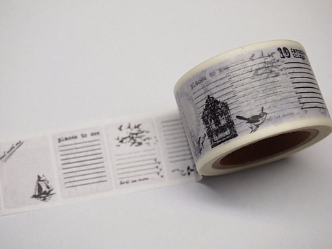 Black & White Labels Big Washi Tape 30mm x 10 meters WT399 - CharmTape - 1