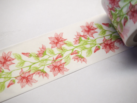 Pink Day Lily Flower Big Washi Tape 30mm x 10 meters WT605 - CharmTape - 2