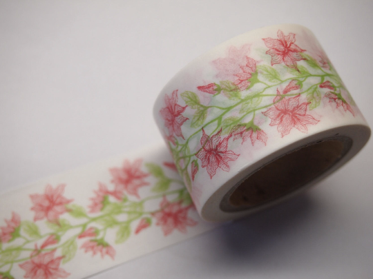 Pink Day Lily Flower Big Washi Tape 30mm x 10 meters WT605 - CharmTape - 1