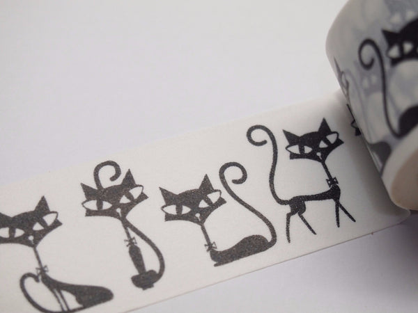 Black Whimsical Cat Big Washi Tape 30mm x 10 meters WT519 - CharmTape - 2