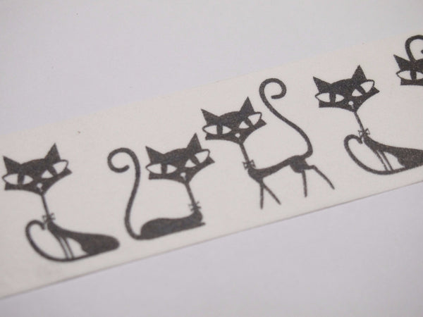 Black Whimsical Cat Big Washi Tape 30mm x 10 meters WT519 - CharmTape - 3