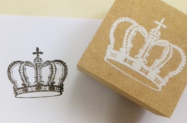 Wood mounted Rubber Stamp - Crowns, Eiffel towers, butterfly & lace illustration - CharmTape - 4