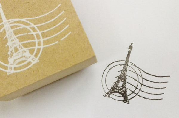 Wood mounted Rubber Stamp - Crowns, Eiffel towers, butterfly & lace illustration - CharmTape - 7
