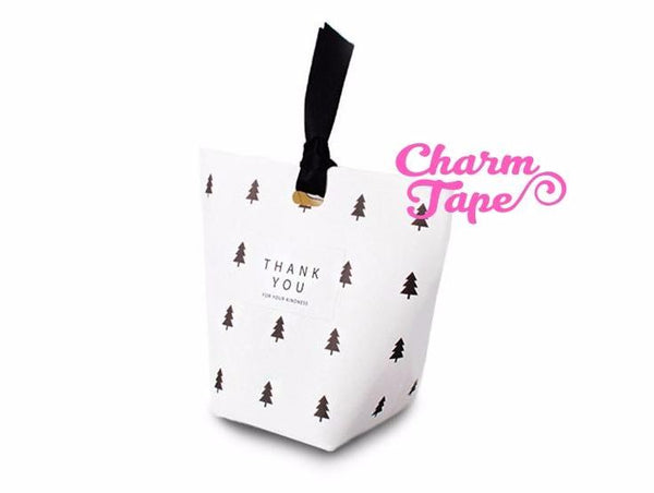 Festive Trees Simple Gift Box with Black Ribbon Packaging Party Favors 5/20 counts PB013