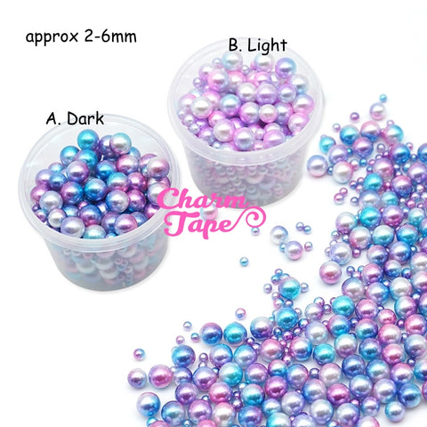 Galaxy Gradient Pearls with No Hole | Round Mermaid Pearl | Magical Pearls in Various Sizes (2.5mm, 3.5mm, 5mm & 6mm)