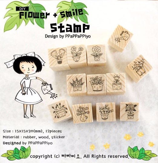 Copy of Cat Stamps Set / Cute Wooden Kitten Stamps Set / Planner Stamps 12 pieces - CharmTape - 1