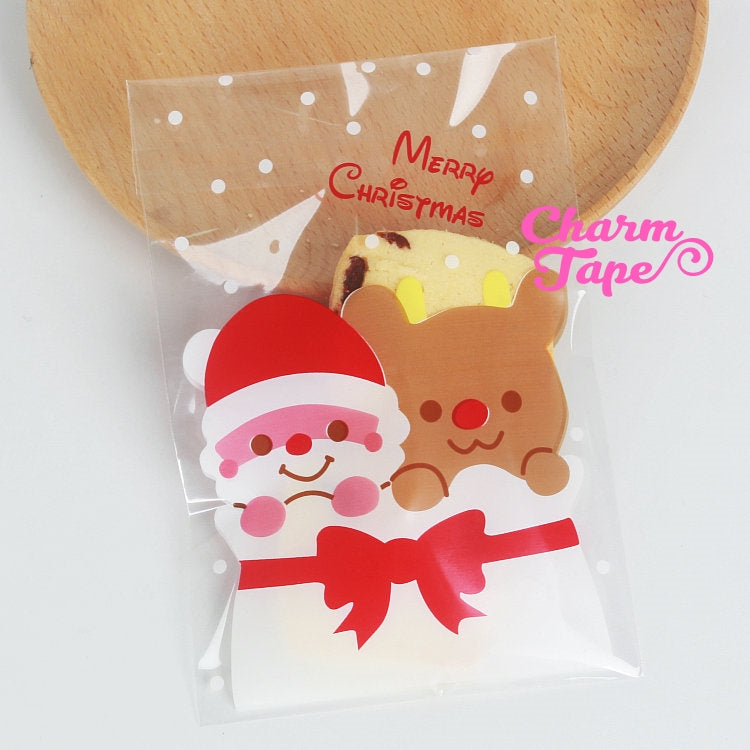 Festive Santa Gift Bags Cello Bags Self-adhesive Cookie bags - Favors Bags Set of 20/50/100 bags CB10