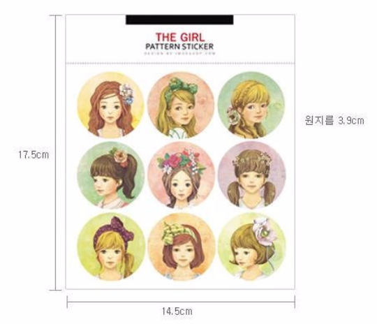 Round Paper Sticker 2 Sheets pretty Girls 4cm diameter ss1035 - CharmTape - 1