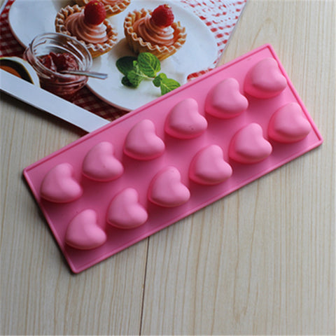 12 cavity Heart Shape Cake Mold Flexible Silicone Soap Mold D009