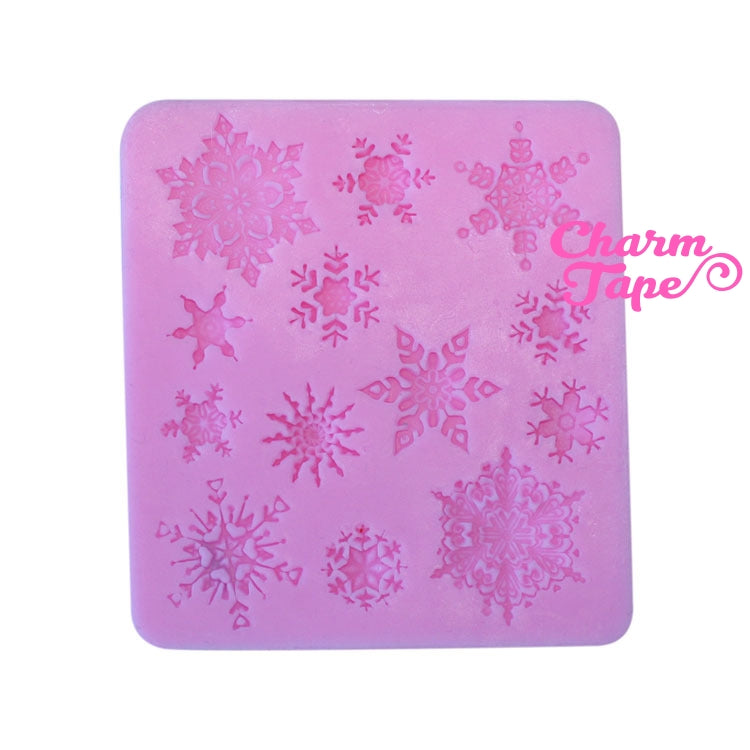 Frozen Ice Snowflake charm Silicon mold flexible, for polymer clay, resin jewelry or cake making C010