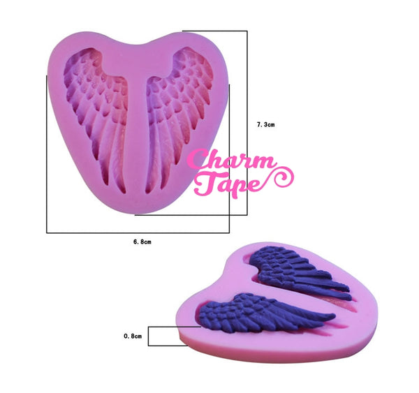 Angel Wings Silicon mold flexible, for polymer clay, resin jewelry or cake making C062