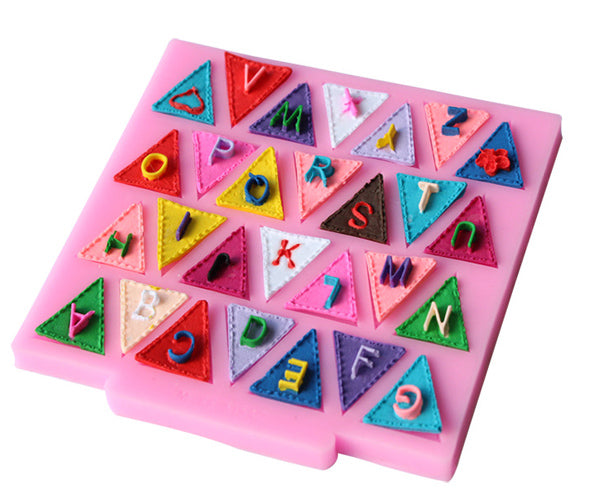 Alphabet Bunting Flags Silicone Silicon Mold Food Grade for Cake Making D114