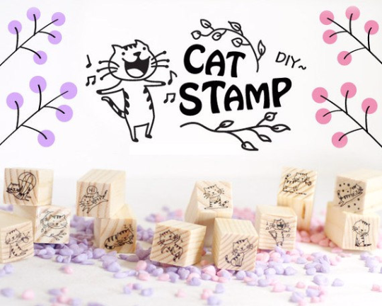 Cat Stamps Set / Cute Wooden Kitten Stamps Set / Planner Stamps 12 pieces - CharmTape - 2
