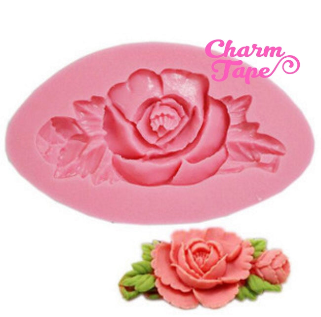 Rose charm Silicon mold flexible, for polymer clay, resin jewelry or cake making C114