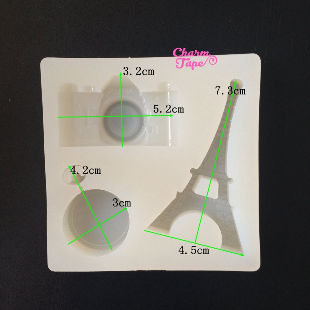 Eiffel Tower Silicone Camera charm Silicon mold flexible, for polymer clay, resin jewelry Q053