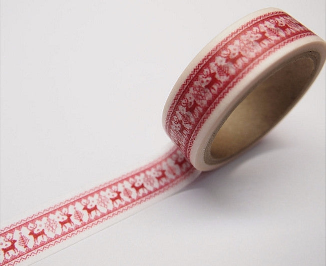 Festive Red Reindeer Rudolph Washi Tape 15mm x 11yards WT315 - CharmTape