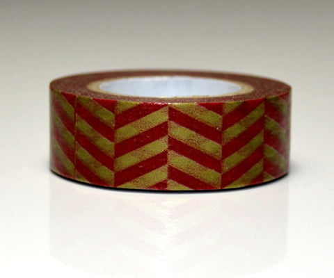 Festive Washi Tape Holiday Red & Gold chevron 10 metres WT590