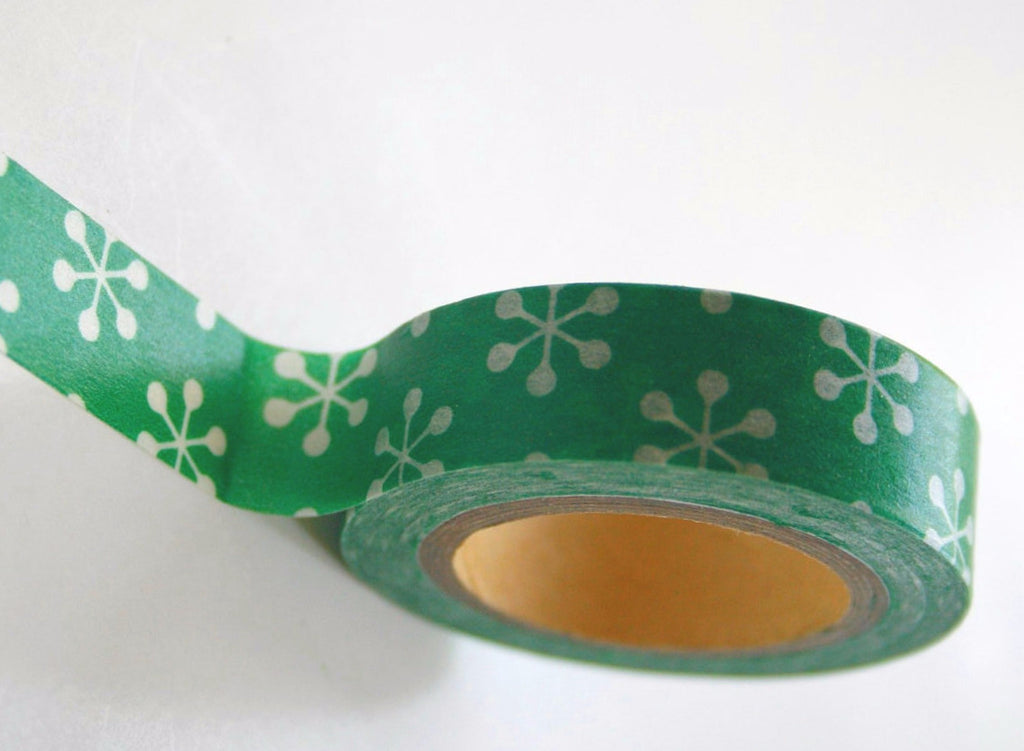 Christmas Snowflake on green Washi Tape Full Roll 11yards WT197