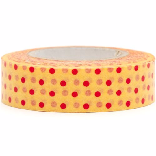 Red polka dots Mango Washi Tape Roll 15mm WT27 - CharmTape - 1