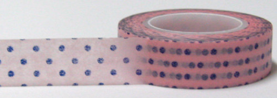 Blue polka dots on Pink Washi Tape Roll 15mm WT27 - CharmTape - 2