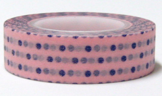 Blue polka dots on Pink Washi Tape Roll 15mm WT27 - CharmTape - 1