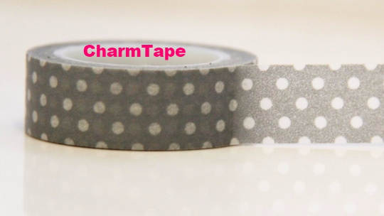 White polka dots on Grey Washi Tape Roll 15mm WT27 - CharmTape - 2