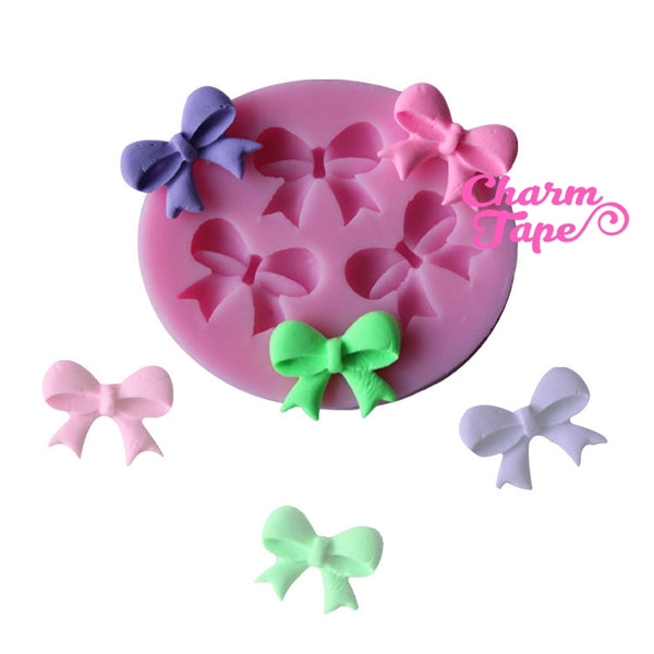 Ribbon Bow charm Silicon mold flexible, for polymer clay, resin jewelry C038